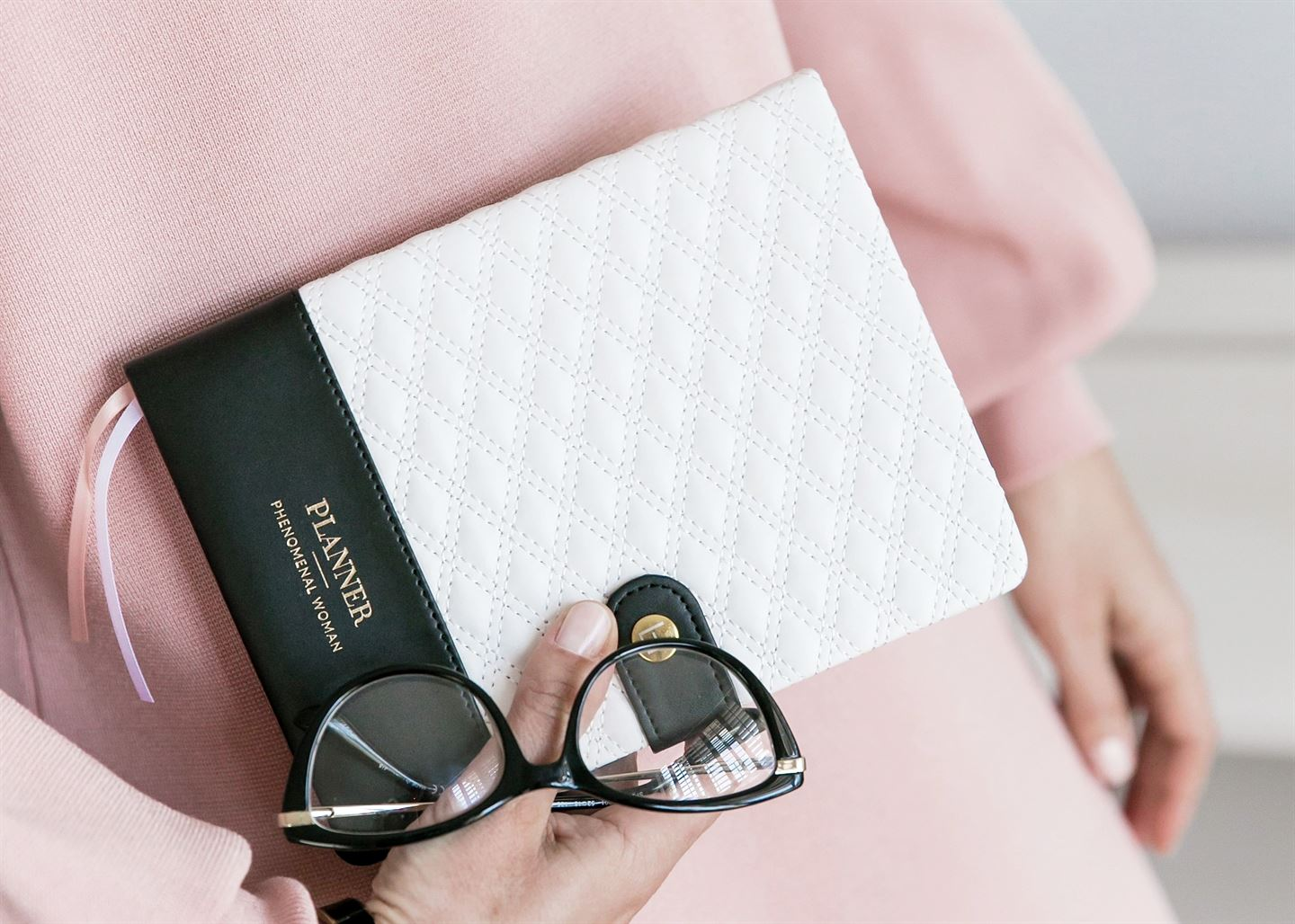 Phenomenal Woman Planner - Diamond-Quilted - Black & White - Luxe Edition