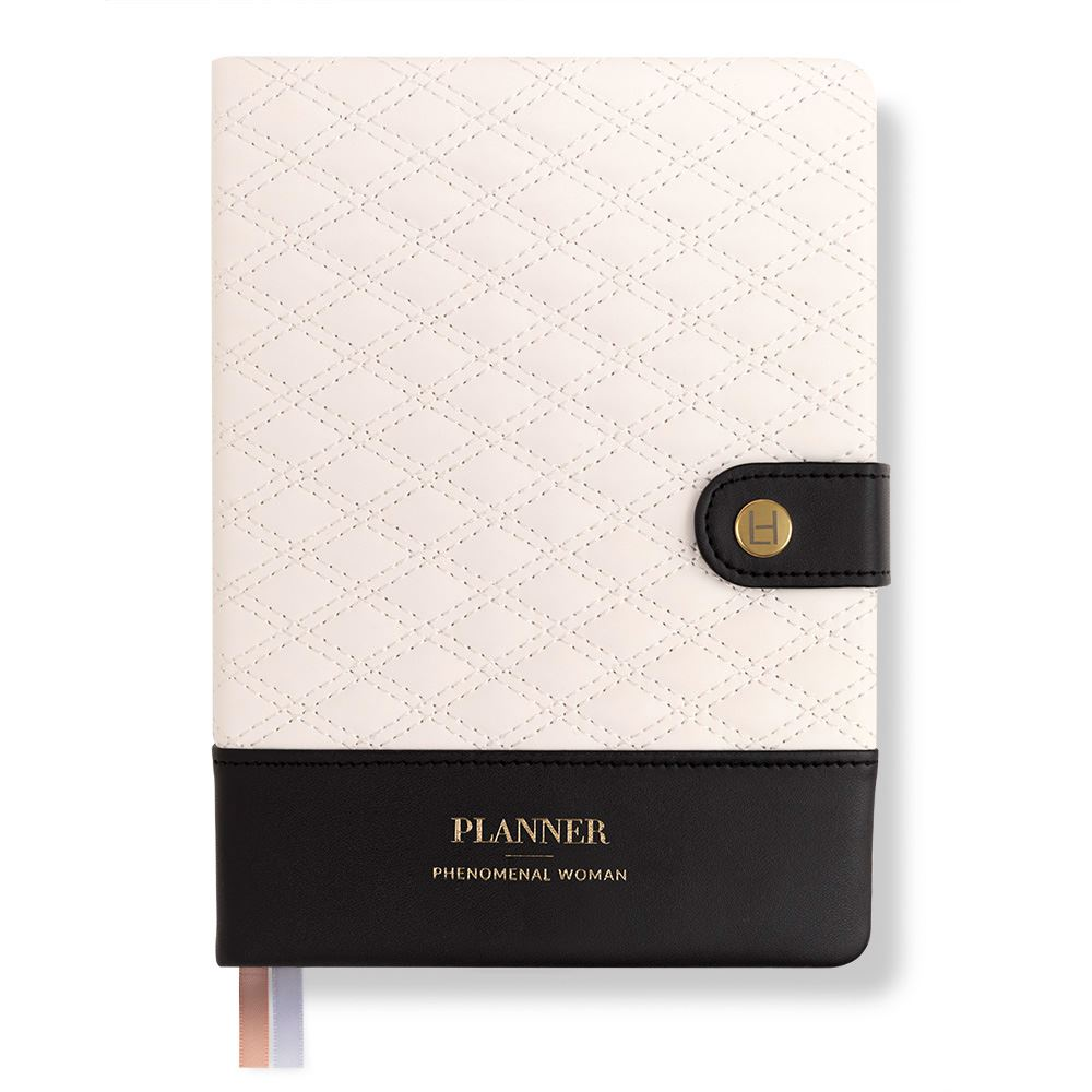 Phenomenal Woman Planner – Diamond-Quilted – Black & White – Luxe Edition